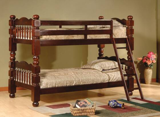 cherry wooden twin bunk bed from pfi