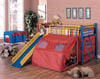 Coaster multicolor kids twin bunk bed with slide and tent