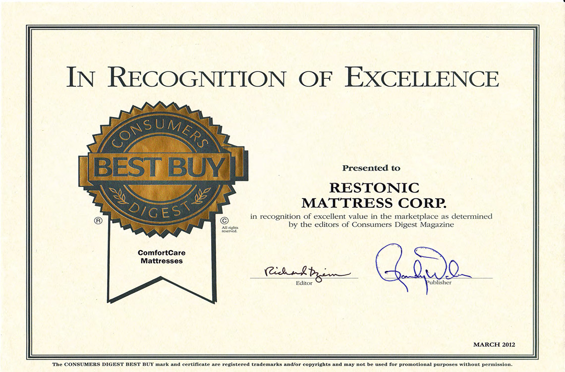 Consumers Digest Award Mattress Restonic Comfort Care
