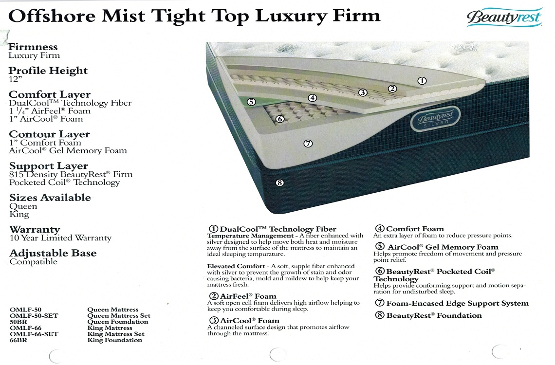 Offshore Mist Luxury Firm A Beautyrest Mattress