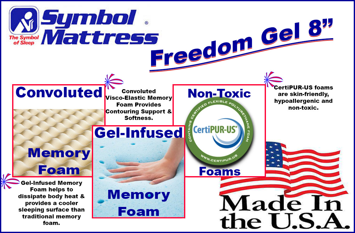 cheap american made cool gel infused memory foam mattress 8 inch freedom - Cheap Memory Foam Mattress